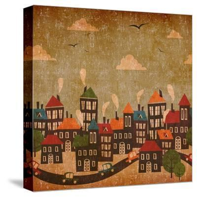 Abstract Winter City Vintage Colorful-Cienpies Design-Stretched Canvas Print