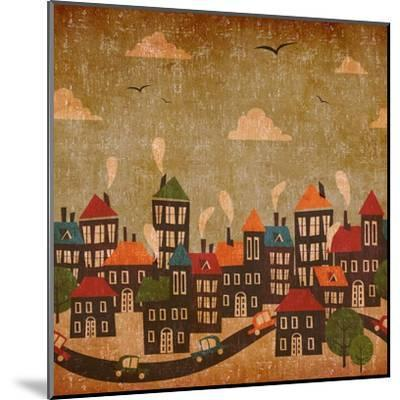 Abstract Winter City Vintage Colorful-Cienpies Design-Mounted Art Print