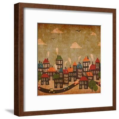 Abstract Winter City Vintage Colorful-Cienpies Design-Framed Art Print