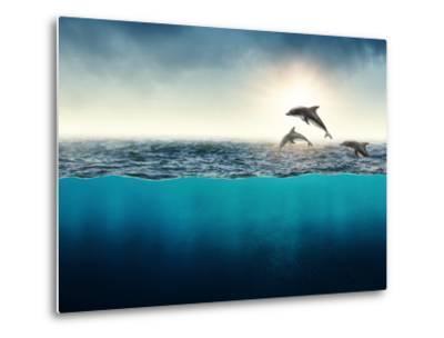 Abstract with Dolphins in Ocean-Elena Schweitzer-Metal Print