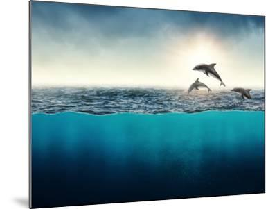 Abstract with Dolphins in Ocean-Elena Schweitzer-Mounted Photographic Print