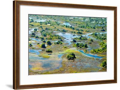 Aerial View of the Spring Floods of the Okavango Delta, Botswana,Africa-Dennis Sabo-Framed Photographic Print