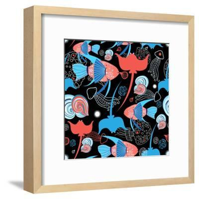 Pattern with Stingray and Fish-Tatiana Korchemkina-Framed Art Print