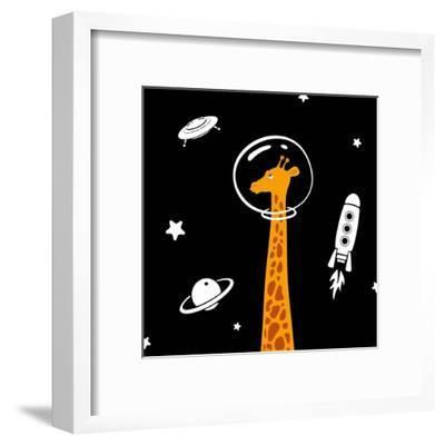 Giraffe in Space-Evgeny Bakal-Framed Art Print