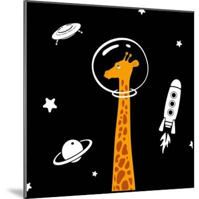 Giraffe in Space-Evgeny Bakal-Mounted Art Print