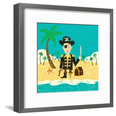 Pirate on an Island with Treasure a Pirate with His Treasure on a Deserted Island- Retrorocket-Framed Art Print
