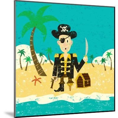 Pirate on an Island with Treasure a Pirate with His Treasure on a Deserted Island- Retrorocket-Mounted Art Print