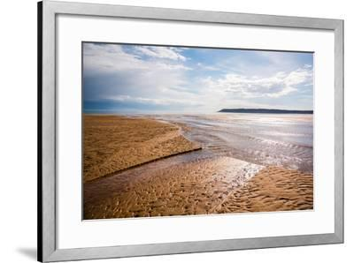 Pennard Pill Meets the Bristol Channel at Three Cliffs Bay, Gower, South Wales, UK-Nigel John-Framed Photographic Print