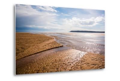 Pennard Pill Meets the Bristol Channel at Three Cliffs Bay, Gower, South Wales, UK-Nigel John-Metal Print