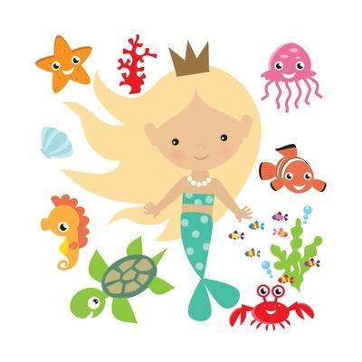 Mermaid Illustration-Svetlana Peskin-Framed Art Print