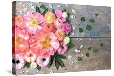 Overhead Shot of Ranunculus, Peonies and Anemones-Georgianna Lane-Stretched Canvas Print