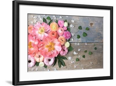 Overhead Shot of Ranunculus, Peonies and Anemones-Georgianna Lane-Framed Photographic Print