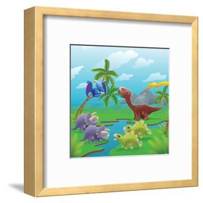 Cute Dinosaurs in Prehistoric Scene-Geo Images-Framed Art Print