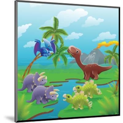 Cute Dinosaurs in Prehistoric Scene-Geo Images-Mounted Art Print