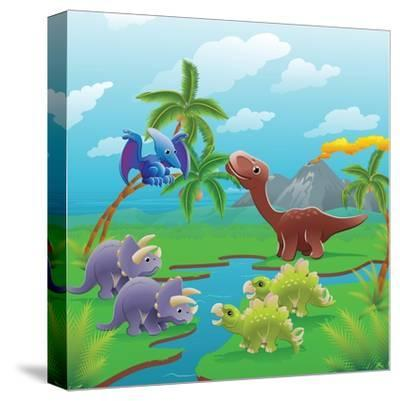 Cute Dinosaurs in Prehistoric Scene-Geo Images-Stretched Canvas Print