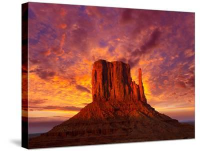 Monument Valley West Mitten at Sunset Sky-Lunamarina-Stretched Canvas Print