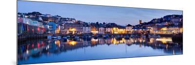 Panorama of Brixham Harbour at Sunset. Devon England UK-Ian Woolcock-Mounted Photographic Print