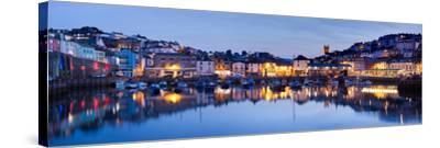 Panorama of Brixham Harbour at Sunset. Devon England UK-Ian Woolcock-Stretched Canvas Print