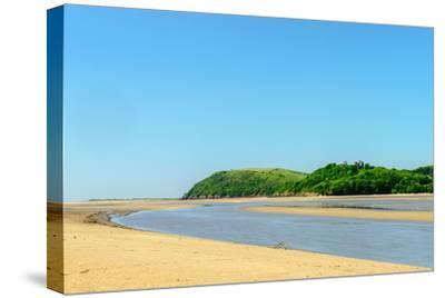 Ferryside Beach, the Coast of Carmarthenshire, Showing the Estuary of the River Tywi- Freespiritcoast-Stretched Canvas Print