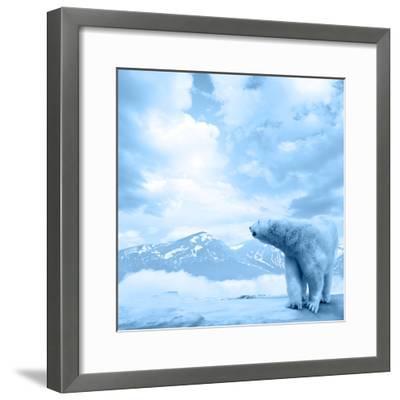 Figure of a Polar Bear on High Mountain Landscape-Oleksii Sergieiev-Framed Photographic Print