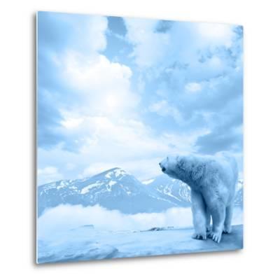 Figure of a Polar Bear on High Mountain Landscape-Oleksii Sergieiev-Metal Print