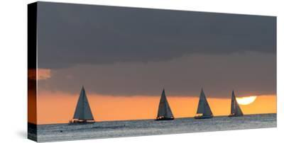 Sailboats in the Ocean at Sunset, Waikiki, Honolulu, Oahu, Hawaii, USA-Keith Levit-Stretched Canvas Print