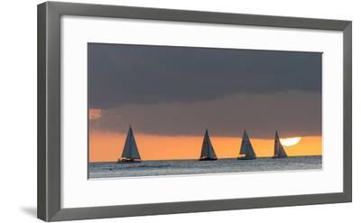 Sailboats in the Ocean at Sunset, Waikiki, Honolulu, Oahu, Hawaii, USA-Keith Levit-Framed Photographic Print