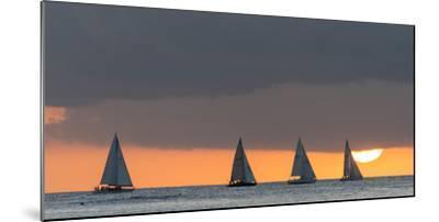 Sailboats in the Ocean at Sunset, Waikiki, Honolulu, Oahu, Hawaii, USA-Keith Levit-Mounted Photographic Print