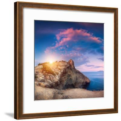 Mountain Landscape with Colorful Blue Sky with Purple Clouds, Sun and Sea at Sunset in Crimea-Denys Bilytskyi-Framed Photographic Print