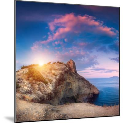Mountain Landscape with Colorful Blue Sky with Purple Clouds, Sun and Sea at Sunset in Crimea-Denys Bilytskyi-Mounted Photographic Print