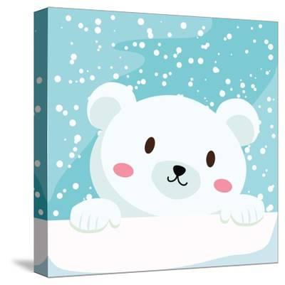 Close Up Picture of a Cute Polar Bear Hold on to the Ice in Snow Day-anitnov-Stretched Canvas Print
