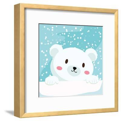 Close Up Picture of a Cute Polar Bear Hold on to the Ice in Snow Day-anitnov-Framed Art Print