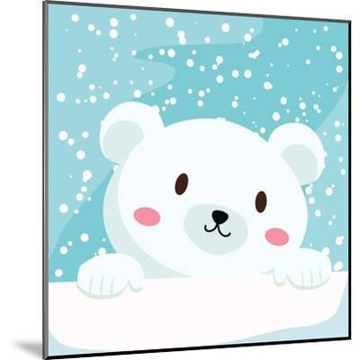 Close Up Picture of a Cute Polar Bear Hold on to the Ice in Snow Day-anitnov-Mounted Art Print