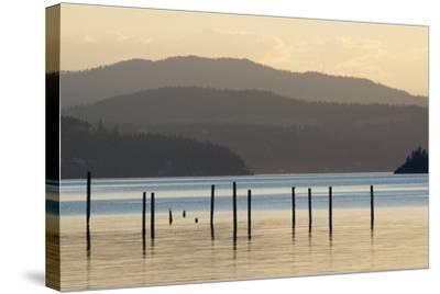 Coeur D'Alene Lake at Dusk-Nick Dale-Stretched Canvas Print