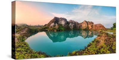Reflection of Mountain from Green Lake-Chee Keong Lee-Stretched Canvas Print