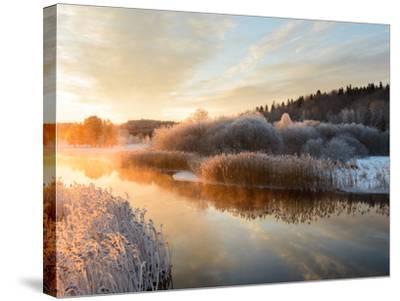 River and Trees in Winter, Storån, Åtvidaberg, Östergötland, Sweden-Utterstr?m Photography-Stretched Canvas Print