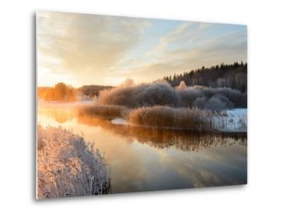 River and Trees in Winter, Storån, Åtvidaberg, Östergötland, Sweden-Utterstr?m Photography-Metal Print
