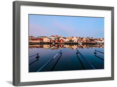 Colourful Houses Reflected in a Still Harbour-Utterstr?m Photography-Framed Photographic Print