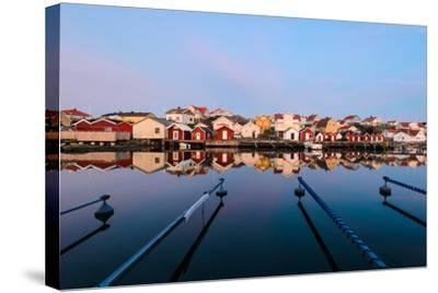 Colourful Houses Reflected in a Still Harbour-Utterstr?m Photography-Stretched Canvas Print