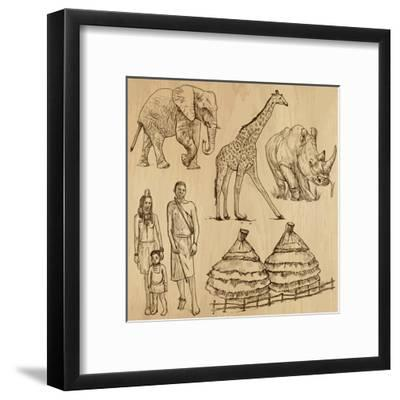 From the Traveling Series: South Africa - Collection of an Hand Drawn Illustrations-KUCO-Framed Art Print