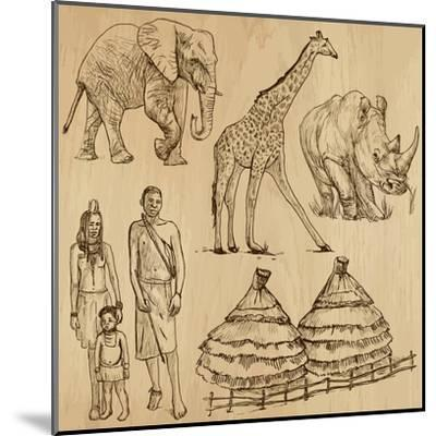 From the Traveling Series: South Africa - Collection of an Hand Drawn Illustrations-KUCO-Mounted Art Print