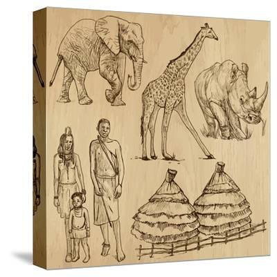 From the Traveling Series: South Africa - Collection of an Hand Drawn Illustrations-KUCO-Stretched Canvas Print