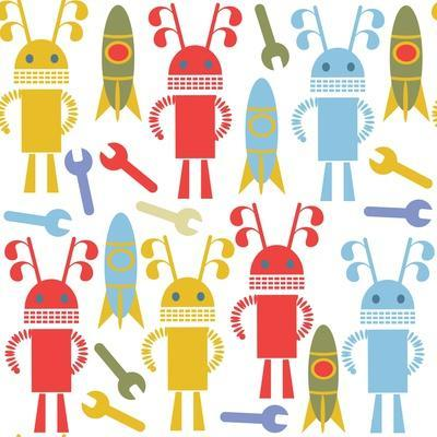 Colorful Cute Robots and Monsters Pattern-Luizavictorya72-Framed Art Print