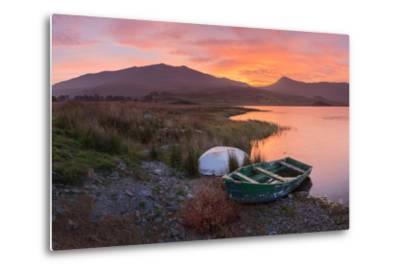 The Sun Rises Behind Mount Snowdon Creating a Beautiful Orange Sky-John Greenwood-Metal Print