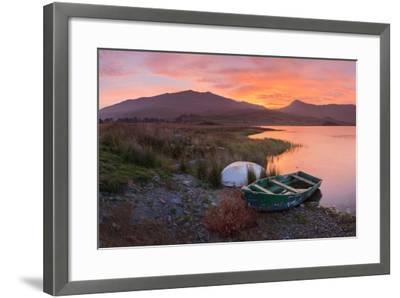 The Sun Rises Behind Mount Snowdon Creating a Beautiful Orange Sky-John Greenwood-Framed Photographic Print