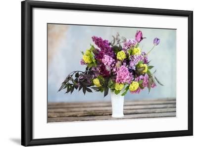 Spring Floral Bouquet with Lilacs, Tulips, Snowball Bush, Hellebore and Euphorbia-Georgianna Lane-Framed Photographic Print