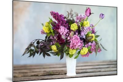 Spring Floral Bouquet with Lilacs, Tulips, Snowball Bush, Hellebore and Euphorbia-Georgianna Lane-Mounted Photographic Print