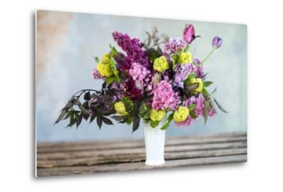 Spring Floral Bouquet with Lilacs, Tulips, Snowball Bush, Hellebore and Euphorbia-Georgianna Lane-Metal Print