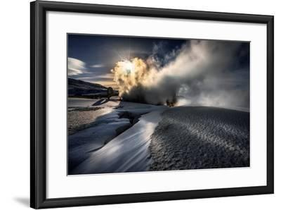 Steaming Boreholes at the Bjarnarflag Geothermal Power Plant in the Winter, Iceland-Ragnar Th Sigurdsson-Framed Photographic Print