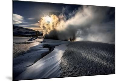 Steaming Boreholes at the Bjarnarflag Geothermal Power Plant in the Winter, Iceland-Ragnar Th Sigurdsson-Mounted Photographic Print